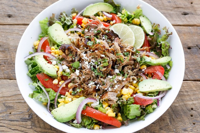 This Carnitas Salad Bowl is irresistible! get the recipe at barefeetinthekitchen.com