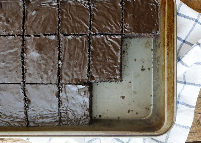Lunch Lady Brownies Recipe - thick, chewy, fudgy brownies with generous chocolate icing. #chocolateforjoan