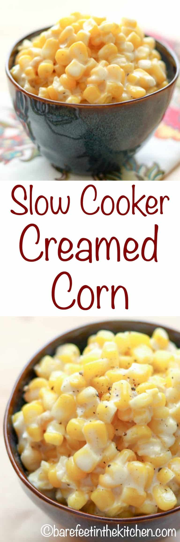 Slow-Cooker Creamed Corn - just like Rudy's BBQ! get the recipe at barefeetinthekitchen.com