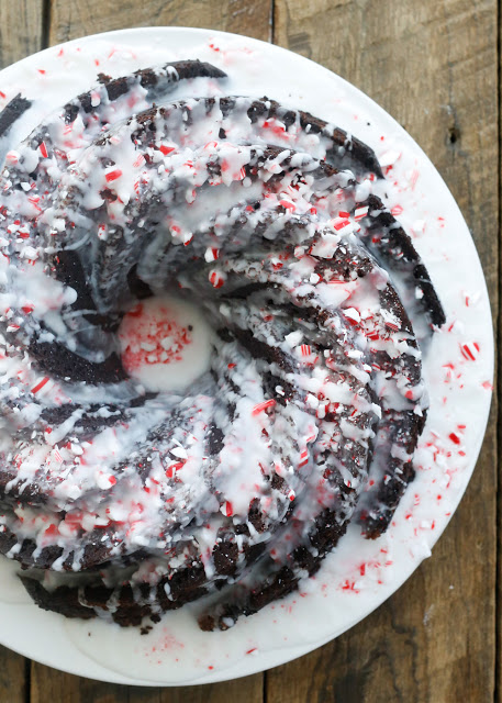 Chocolate Candy Cane Cake is the perfect dessert for your holiday table!
