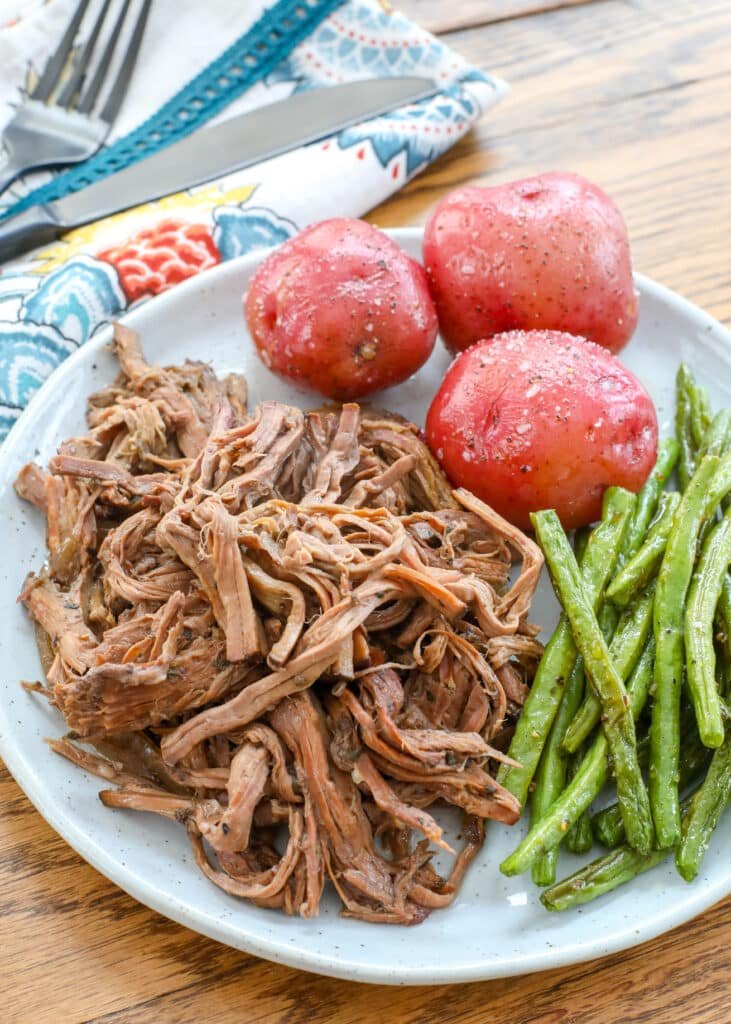 Italian Red Wine Roast Beef is a slow cooker AND an oven roasted favorite!