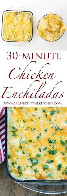 30 Minute Chicken Enchiladas - get the recipe with step-by-step video at barefeetinthekitchen.com