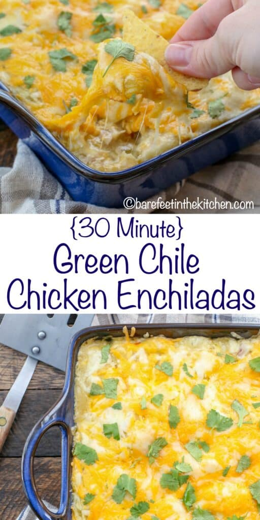 Green Chile Chicken Enchiladas {made in just 30 minutes!} get the recipe at barefeetinthekitchen.com