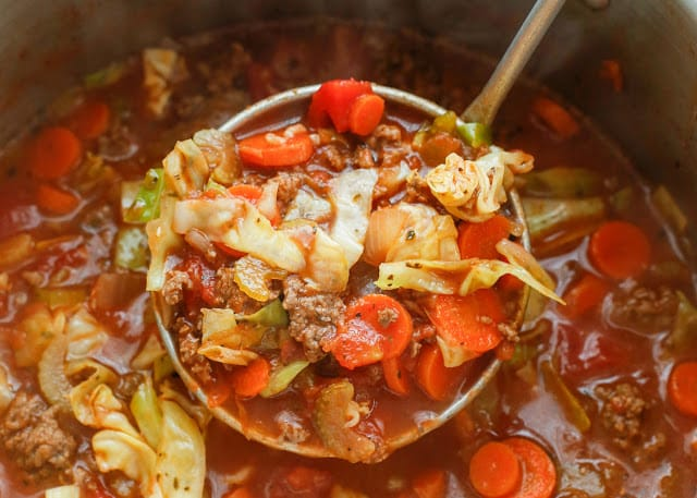 Hearty Italian Vegetable Beef Soup - get the recipe at barefeetinthekitchen.com