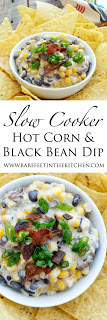 {Slow-Cooker} Hot Corn and Black Bean Dip - get the recipe at barefeetinthekitchen.com