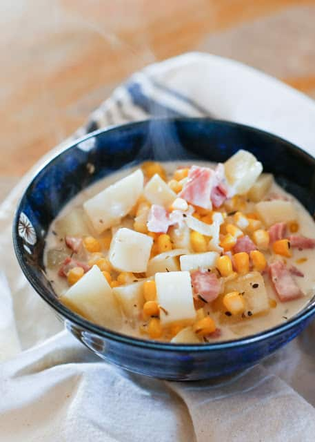 Potato, Ham, and Corn Soup - simple recipe with gluten-free options included - barefeetinthekitchen.com
