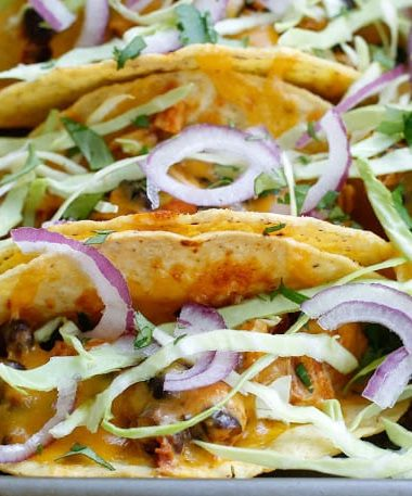 Red Chile Chicken and Black Bean Tacos