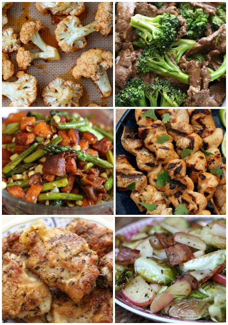 A bunch of different types of food, with Chicken and Broccoli