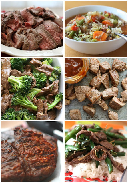 A bunch of different types of food, with Garlic and Beef
