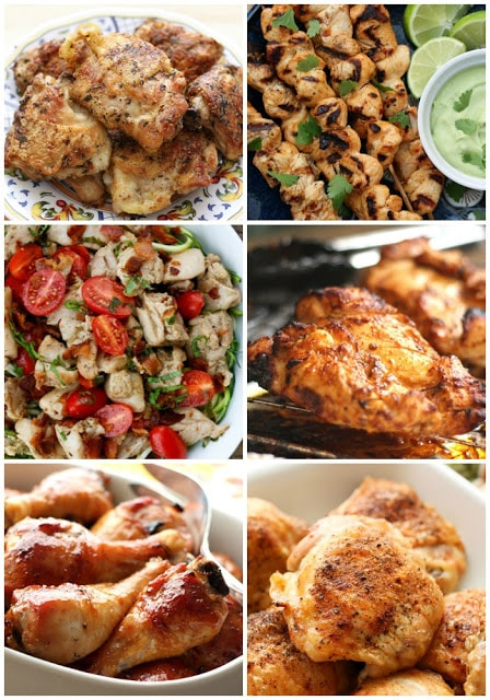 A bunch of different types of food, with Chicken and Recipes
