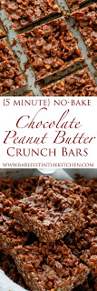 Chocolate Peanut Butter Crunch Bars  - get the recipe with step by step video at barefeetinthekitchen.com