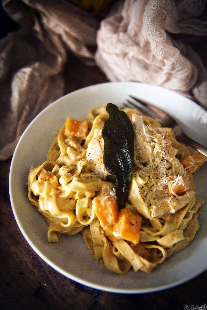 Butternut Squash Alfredo with Chicken or Turkey {Girl Carnivore}