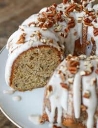 The BEST Banana Bundt Cake with Cinnamon Cream Cheese Icing! get the recipe at barefeetinthekitchen.com