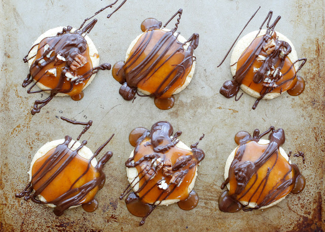 Chocolate Caramel Covered Shortbread Turtle Cookies - get the recipe at barefeetinthekitchen.com