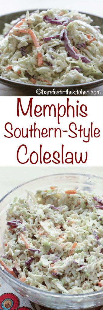 Memphis Southern-Style Coleslaw - get the recipe at barefeetinthekitchen.com