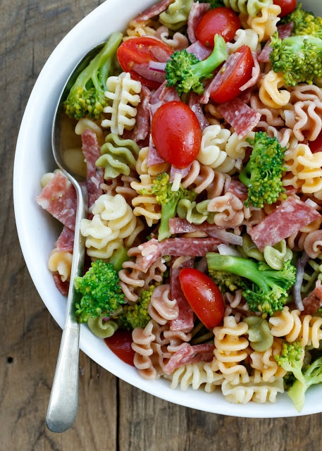 Broccoli and Salami Pasta Salad - get the recipe at barefeetinkitchen.com
