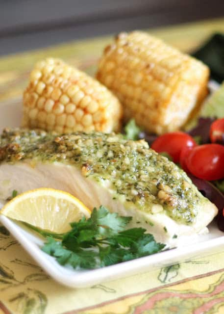 Baked Halibut with a Pine Nut Crust {Barefeet in the Kitchen}