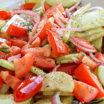 Cucumber Tomato Salad is a summer favorite! - get the recipe at barefeetinthekitchen.com