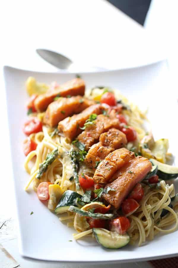 Pasta Primavera with Salmon {Lemons for Lulu}