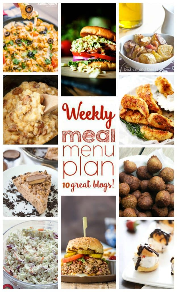 Weekly Meal Plan featuring recipes for Chicken Skillet Nachos, Parmesan Crusted Chicken Tenders, Crock Pot Sausage and Hash Brown Casserole, Falafel, Bison Burgers with Maple Brussels Slaw, Bacon Cheeseburger Sloppy Joes, Memphis Coleslaw, Roasted Potato Salad with Bacon Vinaigrette, No Bake Reese's Chocolate Cheesecake, and Strawberries and Cream Profiteroles!