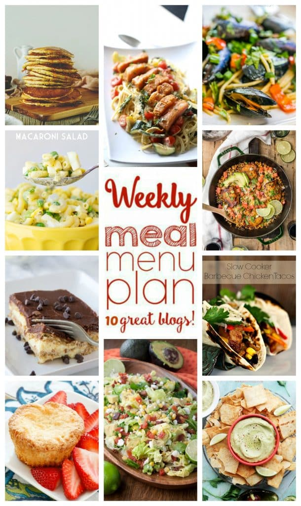 Weekly Meal Plan featuring recipes for BLT Chopped Salad, Pasta Primavera with Salmon, Slow Cooker Barbecue Chicken Tacos, BBQ Ranch Chicken Skillet, Drunken Mussels, Classic Buttermilk Pancakes, Classic Macaroni Salad, Avocado and Feta Hummus Dip, Mini Coconut Pound Cakes, and Boston Cream Pie Ice Box Cake!