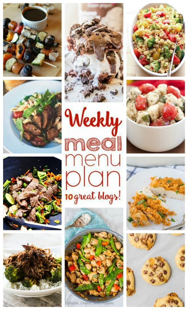 Weekly Meal Plan with recipes for Spicy Basil Chicken, Slow Cooker Asian Beef, Barbecue Ranch Cheddar Chicken, Ginger Lime Beef Stir Fry, Marinated Vegetable Pasta Salad, Pork Kebobs with Balsamic BBQ Sauce, Marinated Mozzarella Tomato Basil Salad, Creamed Corn and Pasta, Salted Caramel Soft Batch Cookies, and Fudgy Brownie Ice Cream Sandwiches!