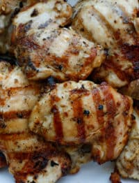 A close up of a plate of food, with Chicken and Grilling