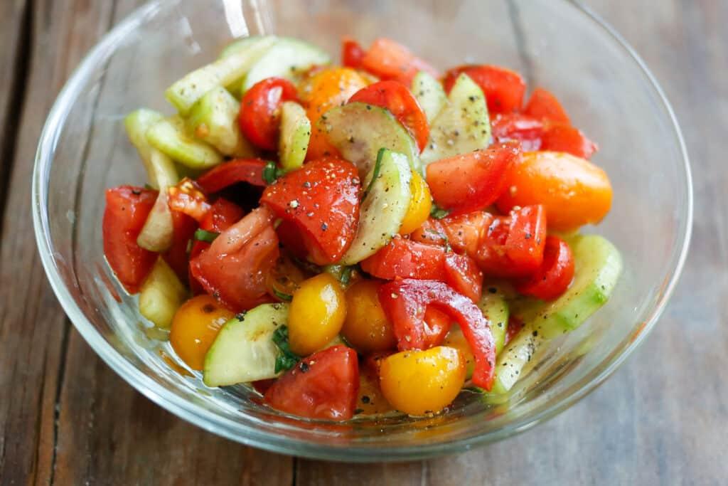 Cucumber Tomato Salad - get the recipe at barefeetinthekitchen.com