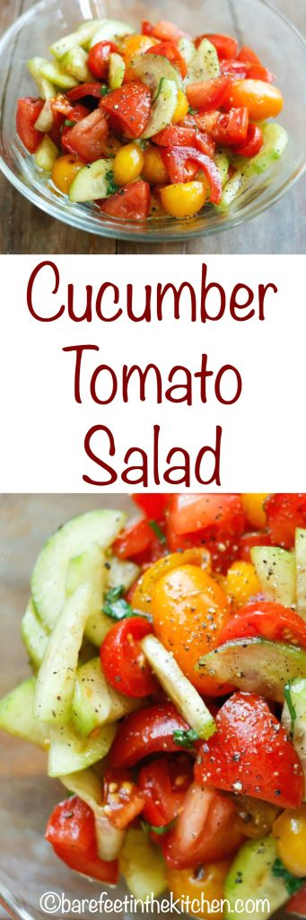 Cucumber Tomato Salad - get the recipe at barefeetinthekitchen.com