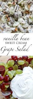 Grape Salad with Vanilla Bean Sweet Cream - get the recipe at barefeetinthekitchen.com