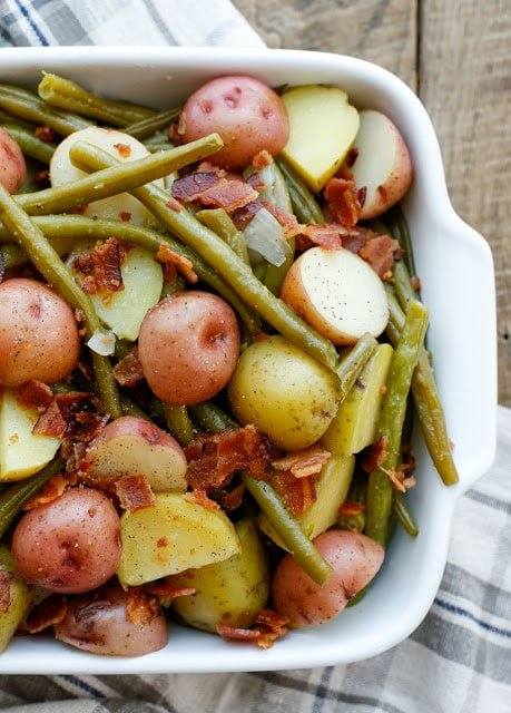 Southern-Style Green Beans with Potatoes and Bacon - get the recipe at barefeetinthekitchen.com