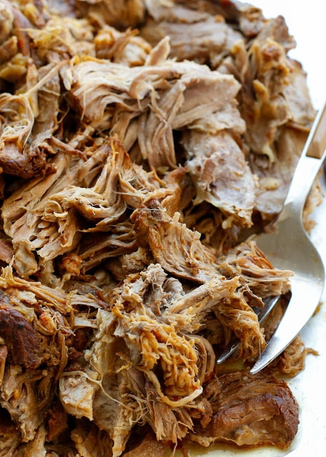 Sweet and Tangy Pulled Pork (with directions for the slow-cooker and then pressure-cooker) get the recipe at barefeetinthekitchen.com