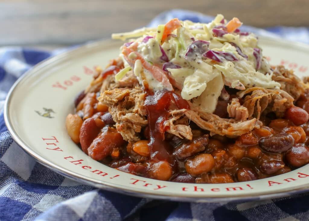 BBQ Sundaes are the ultimate combination of pulled pork, baked beans, and southern coleslaw! get the recipes at barefeetinthekitchen.com