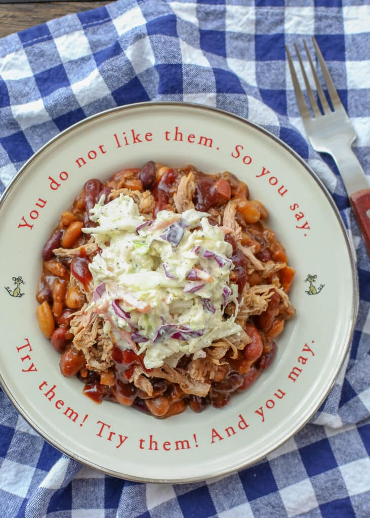 BBQ Sundaes are an unforgettable combination of pulled pork, baked beans, and southern coleslaw! get the recipes at barefeetinthekitchen.com