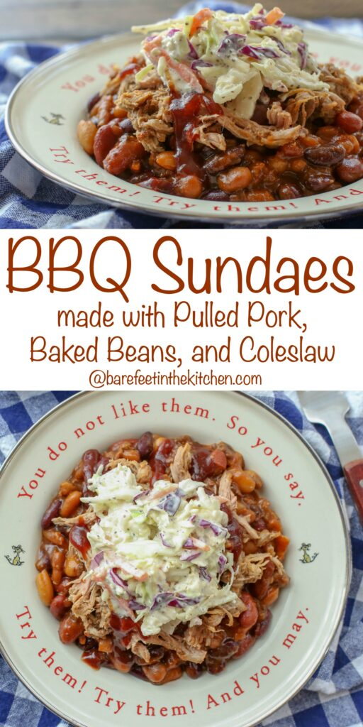 BBQ Sundaes - pulled pork, baked beans, and southern style coleslaw are an irresistible combination! get the recipe at barefeetinthekitchen.com