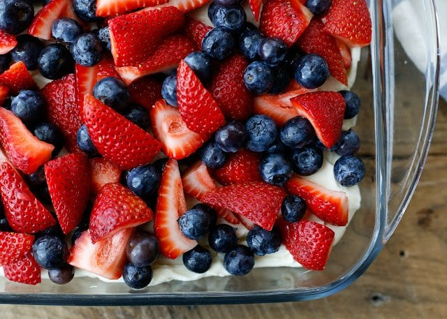 No-Bake Berry Pretzel Dessert in a clear casserole dish.