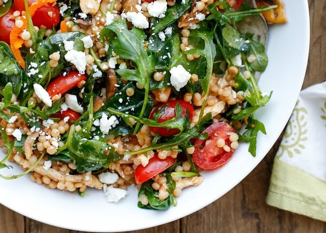 Summer Israeli Couscous Salad - get the recipe at barefeetinthekitchen.com