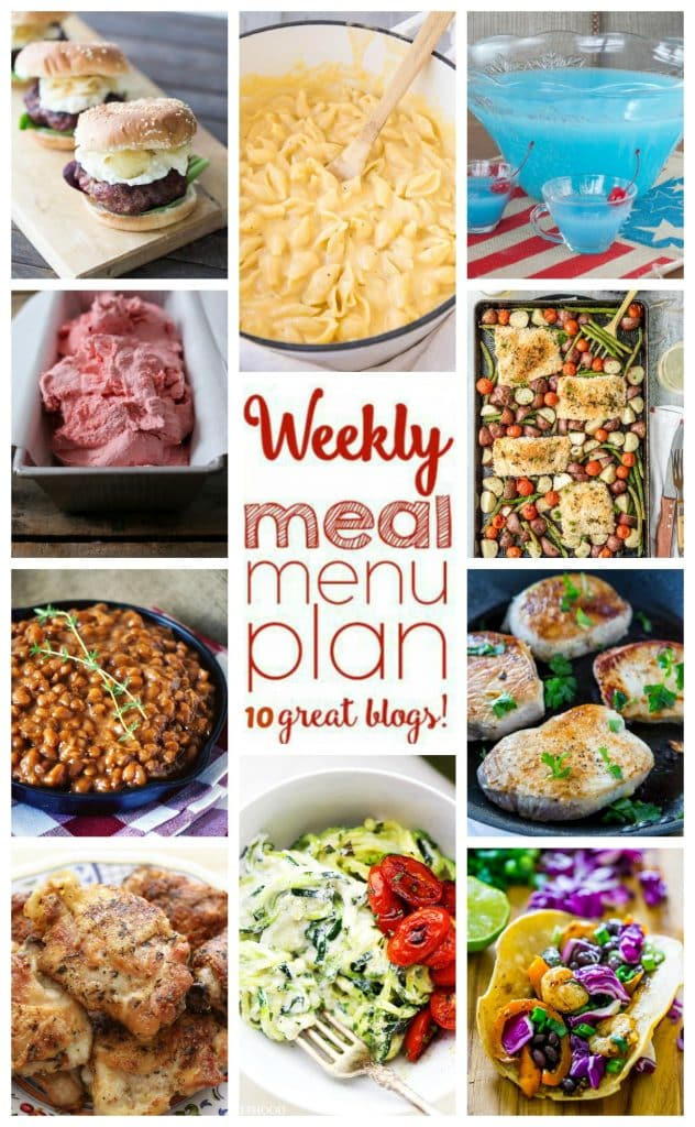 Weekly Meal Plan featuring recipes for Lemon Garlic Pork Chops, Roasted Shrimp Tacos, Pan Fried Italian Chicken Thighs, Stove Top Macaroni and Cheese, Black and Blue Cajun Burgers, Sheet Pan Honey Mustard Salmon, Creamy Ricotta Zucchini Noodles, Slow Cooker Baked Beans, 3-Ingredient Strawberry Ice Cream, and Pina Colada Punch!