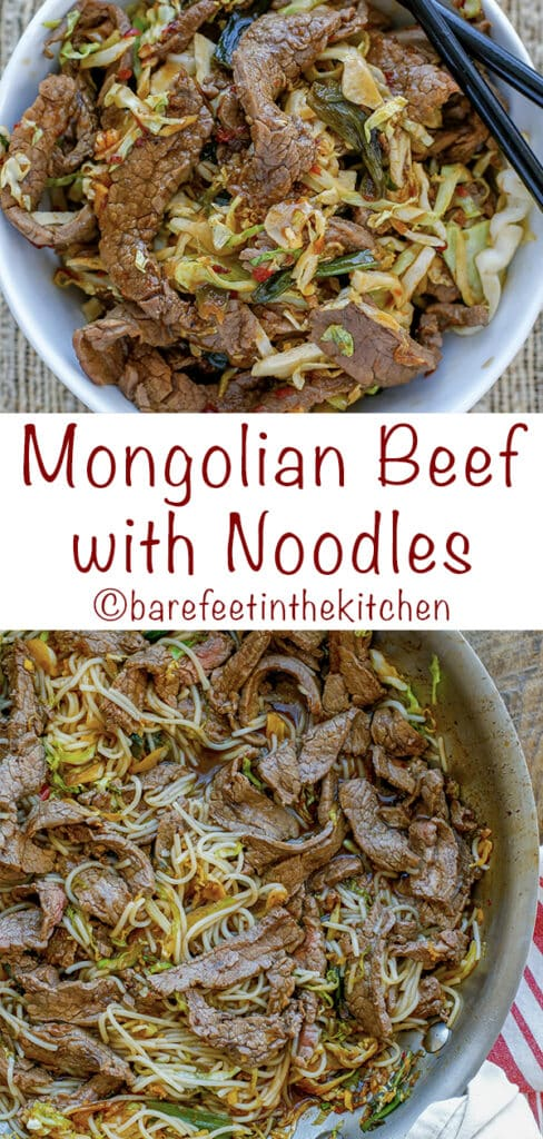 Better-Than-Take-Out Mongolian Beef with Noodles! get the recipe at barefeetinthekitchen.com