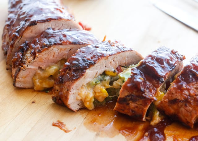 Cheddar Vegetable Stuffed BBQ Pork Tenderloin - get the recipe at barefeetinthekitchen.com