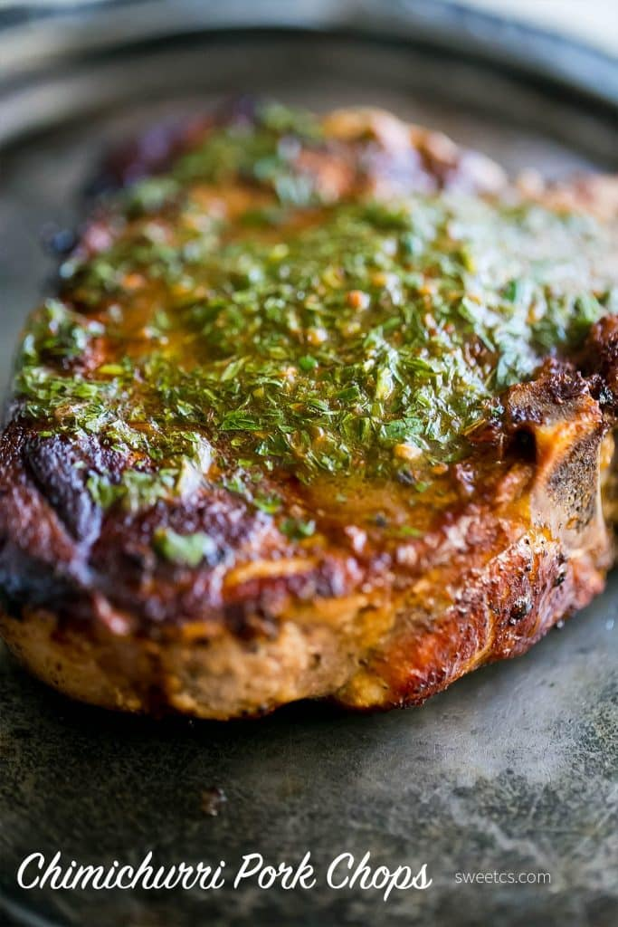 Pork Chops with Carrot Top Chimichurri {Sweet C's}
