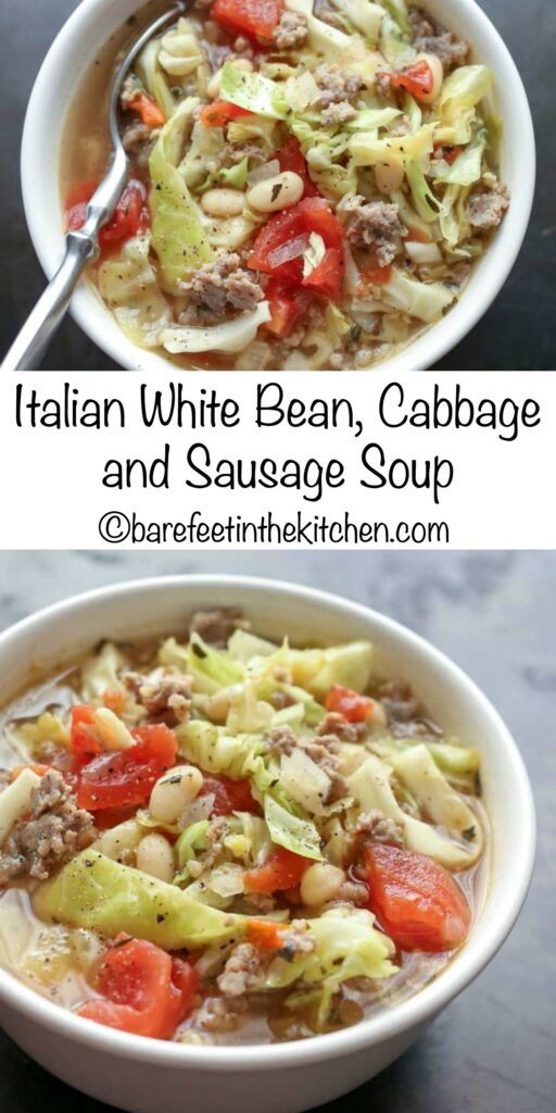 Italian White Bean, Cabbage, and Sausage Soup is a fall favorite! get the recipe at barefeetinthekitchen.com