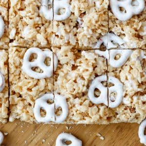 Chocolate Covered Pretzel Rice Crispy Treats