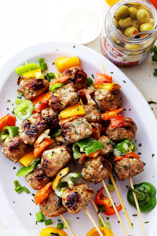 Mediterranean Turkey Meatball Skewers {Diethood}
