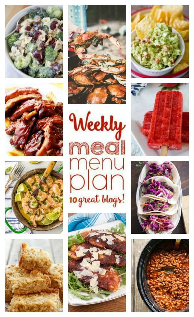 Weekly meal plan featuring recipes for Grilled Steak Fusion Tacos, Slow Cooker Breakfast Baked Beans, Cilantro Lime Shrimp Scampi, Favorite Breaded Chicken Cutlets, Steamed Blue Crabs, Barbecue Ribs, Lightened Up Broccoli Pasta Salad,Green Chili Guacamole, Chewy Coconut Bars, and Strawberry Popsicles - get the recipes at barefeetinthekitchen.com