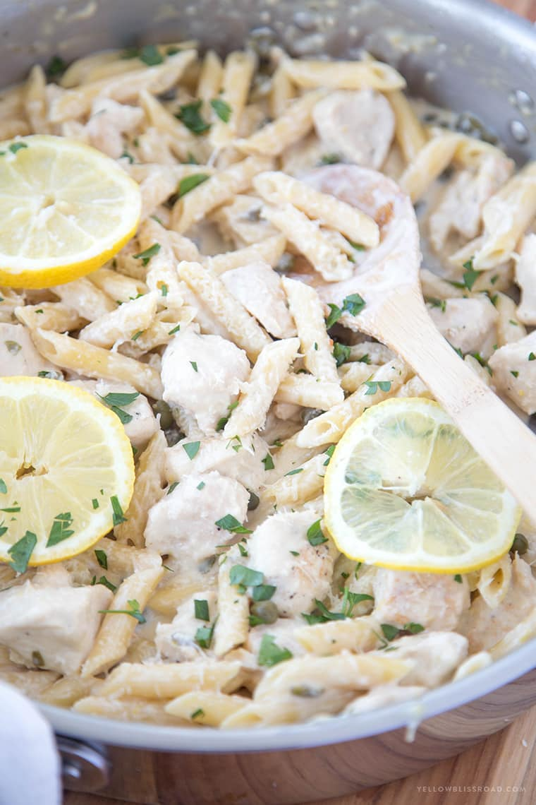 One Pan Lemon Picatta Chicken Pasta {Yellow Bliss Road}