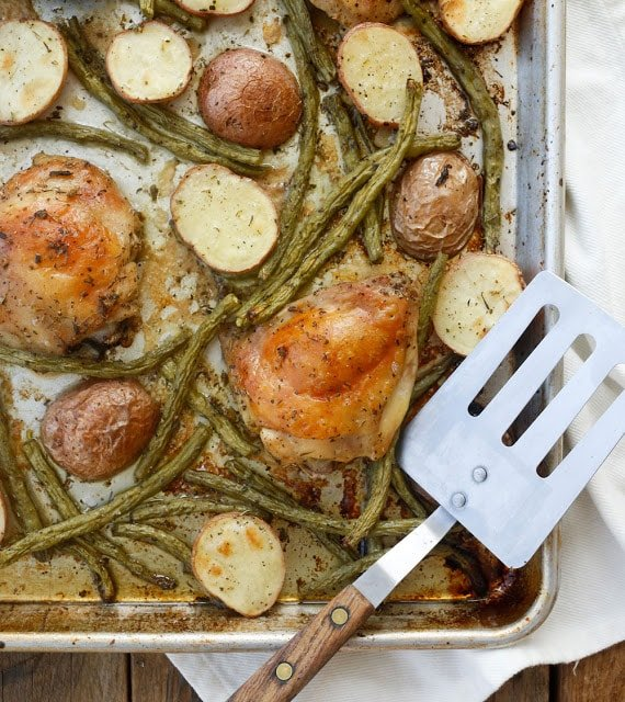 {5 Minute} Sheet Pan Chicken Thighs with Green Beans and Potatoes - get the recipe at barefeetinthekitchen.com