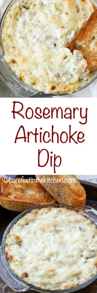 Rosemary Artichoke Dip is a huge favorite! get the recipe at barefeetinthekitchen.com