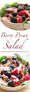 Make the most of the season's fresh berries with this amazing Berry Pecan Salad! Filled with fresh fruit, sugared almonds, and creamy poppyseed dressing, it's one of the season's best salads. Get the recipe at barefeetinthekitchen.com