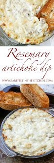 Rosemary Artichoke Dip is going be to your new party dip, appetizer, Friday night craving, and all around favorite hot snack. Get the recipe at barefeetinthekitchen.com